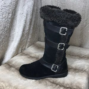 boc Black Suede Faux Fur Lined Winter Boot Sz 7.5